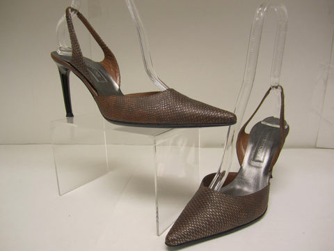 Sergio Rossi Brown Slingbacks Size 38.5 - Creme de la Creme Consigners: Pre Owned Handbags, Used Handbags, Luxury Consignment