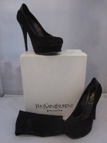 Yves Saint Laurent Chocolate Brown Suede and Lizard Tribute Pump Size 38 - Creme de la Creme Consigners: Pre Owned Handbags, Used Handbags, Luxury Consignment