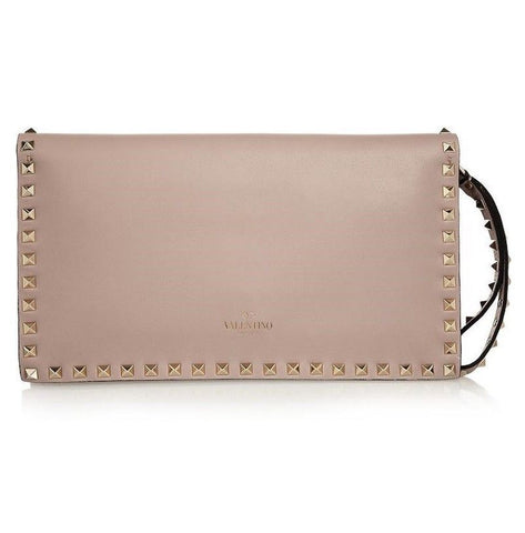 VALENTINO GARAVANI Rockstud Calfskin Leather Clutch - Creme de la Creme Consigners: Pre Owned Handbags, Used Handbags, Luxury Consignment