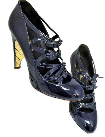 Chanel Navy Blue Strappy Pumps - Creme de la Creme Consigners: Pre Owned Handbags, Used Handbags, Luxury Consignment