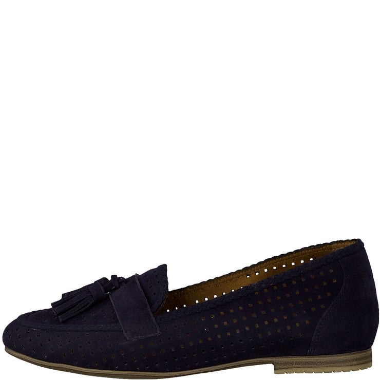 NAVY LASER CUT LOAFERS
