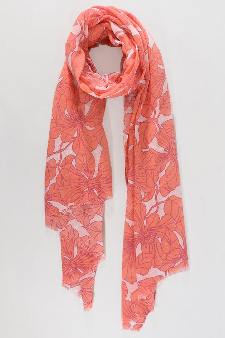 FUCHSIA & ORANGE FLORAL SCARF