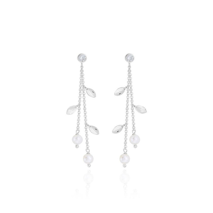 HAPPY EVER AFTER BOXED PEARL LEAF EARRINGS