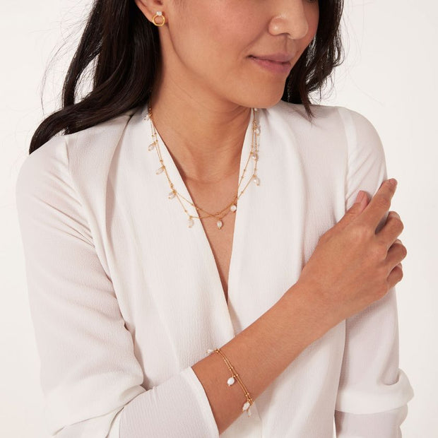 JOMA JEWELLERY | ISLA GOLD PEARL WRAP NECKLACE