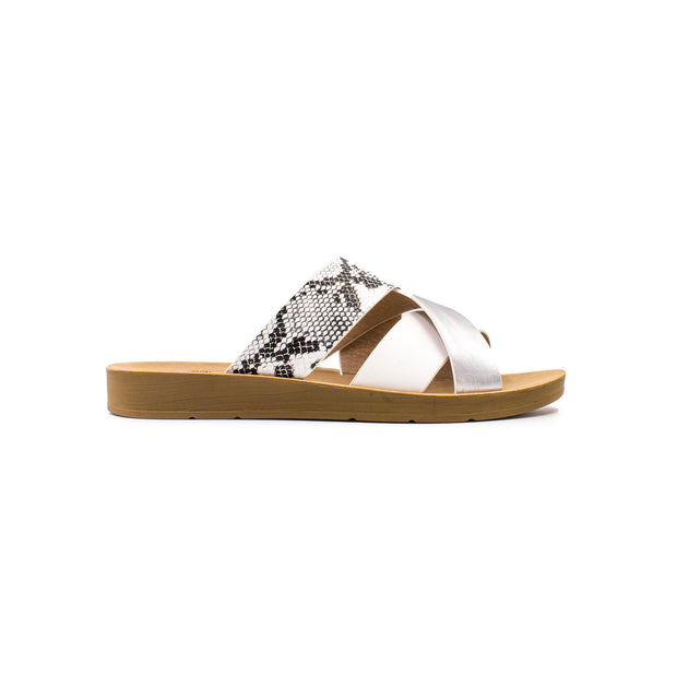 BETSY | WHITE & SILVER SNAKE PRINT SANDALS