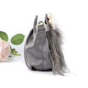 GREY FEATHER CLUTCH BAG