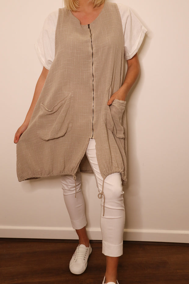 HESSIAN ZIP POCKET DRESS
