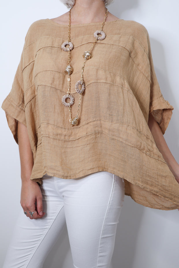 WAVED LAYERED LINEN TOP