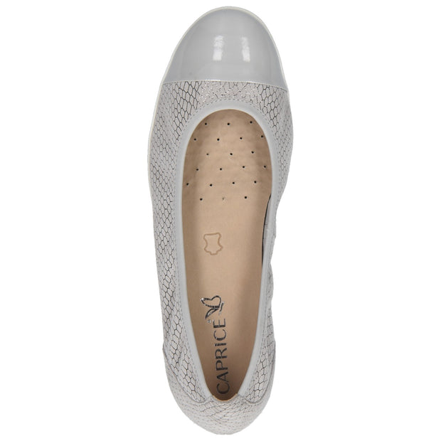 Caprice | Light Grey Leather Pump Shoe
