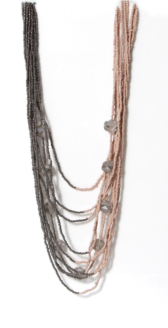 LONG PEWTER/PINK MULTI STRAND NECKLACE