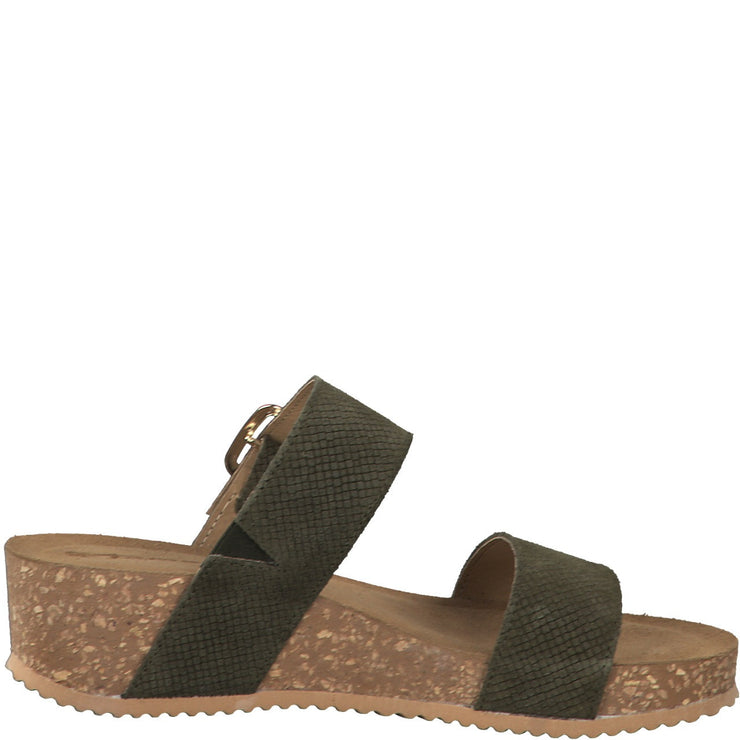 KHAKI GREEN WEDGE SLIDER SANDALS