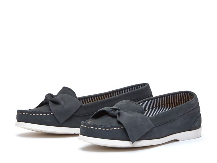 NAVY MAYA BOW LOAFERS