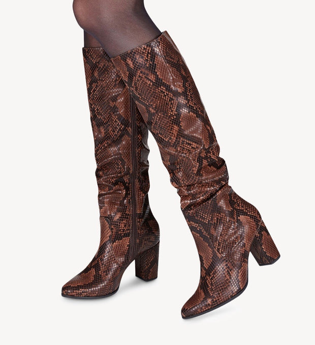 TAMARIS | OVER THE KNEE SNAKE PRINT BOOTS