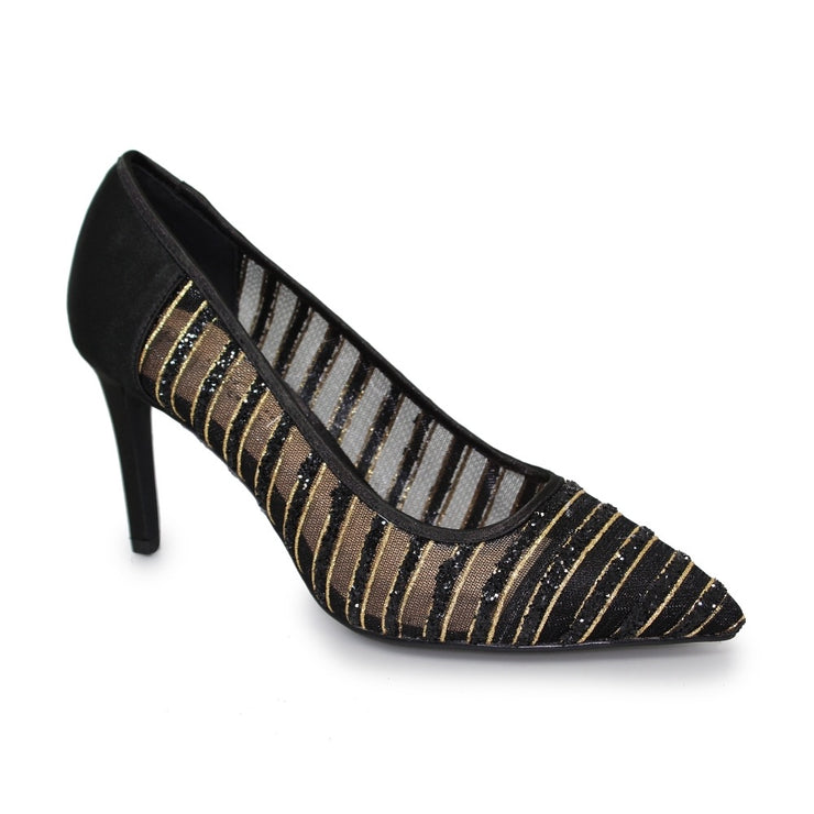 BLACK JODIE POINTED COURT SHOE