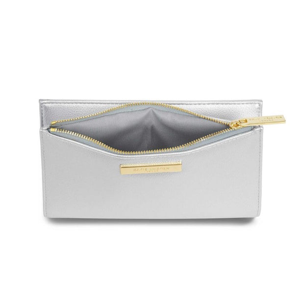 KATIE LOXTON | METALLIC SILVER ALISE FOLD OUT PURSE
