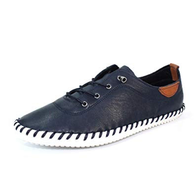NAVY IVES LEATHER PLIMSOLLS
