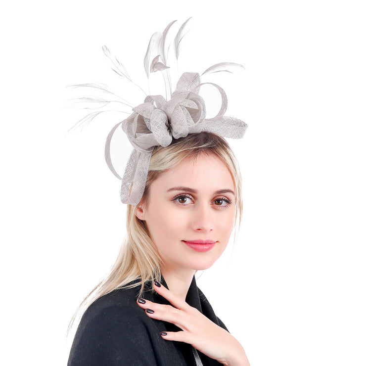 SILVER FEATHER FLORAL FASCINATOR