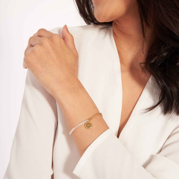 JOMA JEWELLERY | SIGNATURE STONES ROSE QUARTZ BRACELET GOLD LOVE