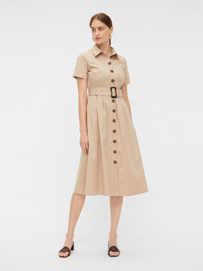 YAS | TAUPE UTILITY MIDI DRESS