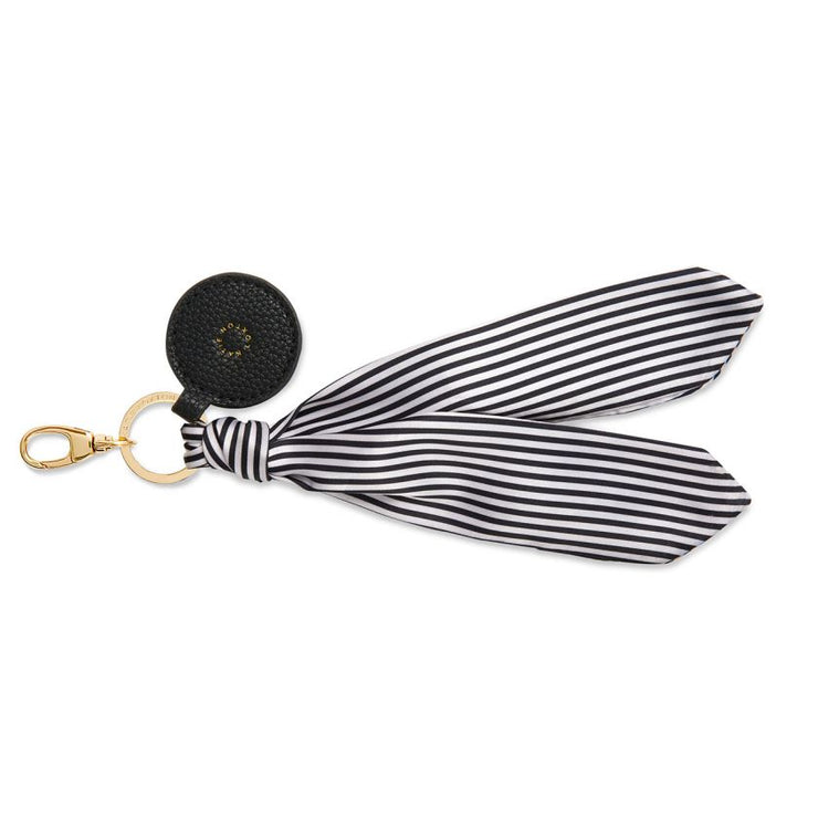 BLACK STRIPE CARRIE SCARF KEYRING BAG CHARM
