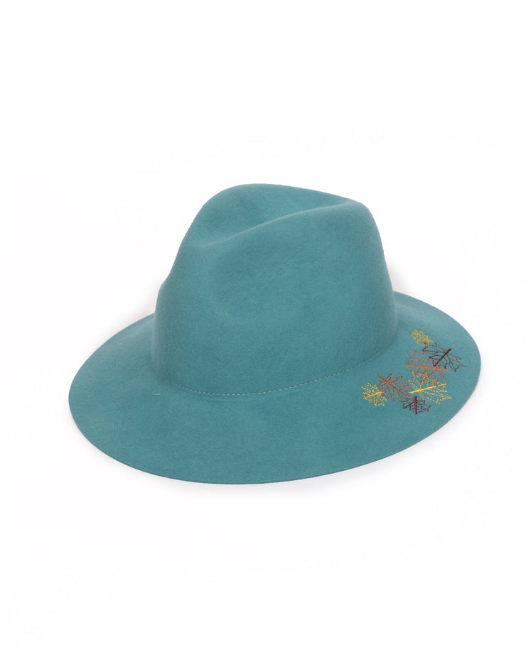 EMBROIDERED LEAF WOOL HAT