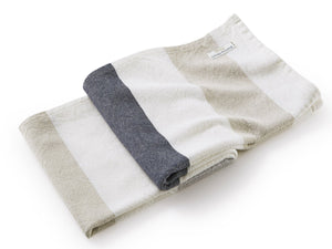 Walker's Point Pearl Linen with Dove Gray, Oyster, Deep Navy folded blanket.