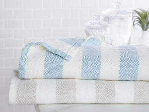 Stack of Baxter towels showing the color variations