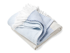 Sugarloaf Misty Blue/Oyster/Shore folded throw.