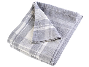 Bailey folded blanket in Dove Gray color variation.