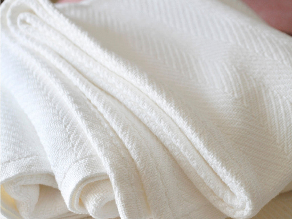 Madison White folded blanket close-up image.