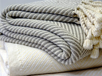 Stack  of Monhegan throws close-up image.
