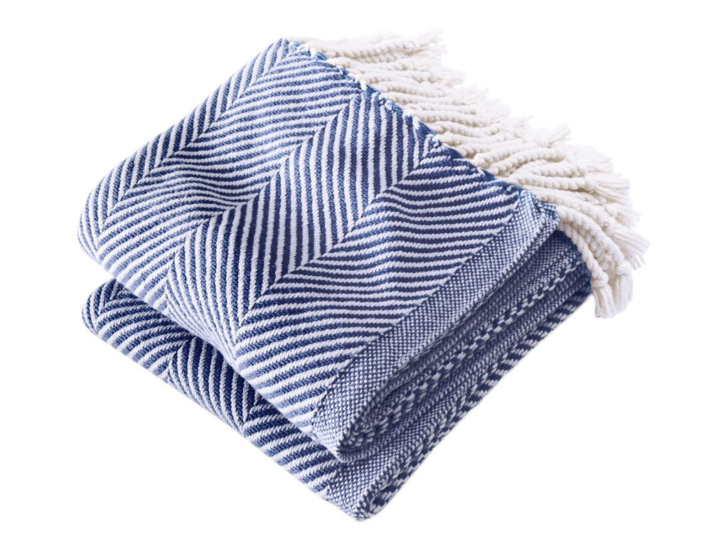 Monhegan Navy folded blanket.