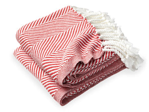 Monhegan Breton Red folded throw.