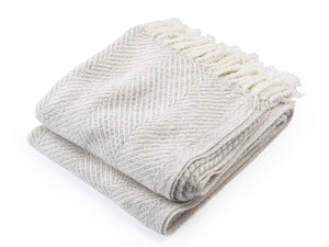 Newfield white heather folded throw.