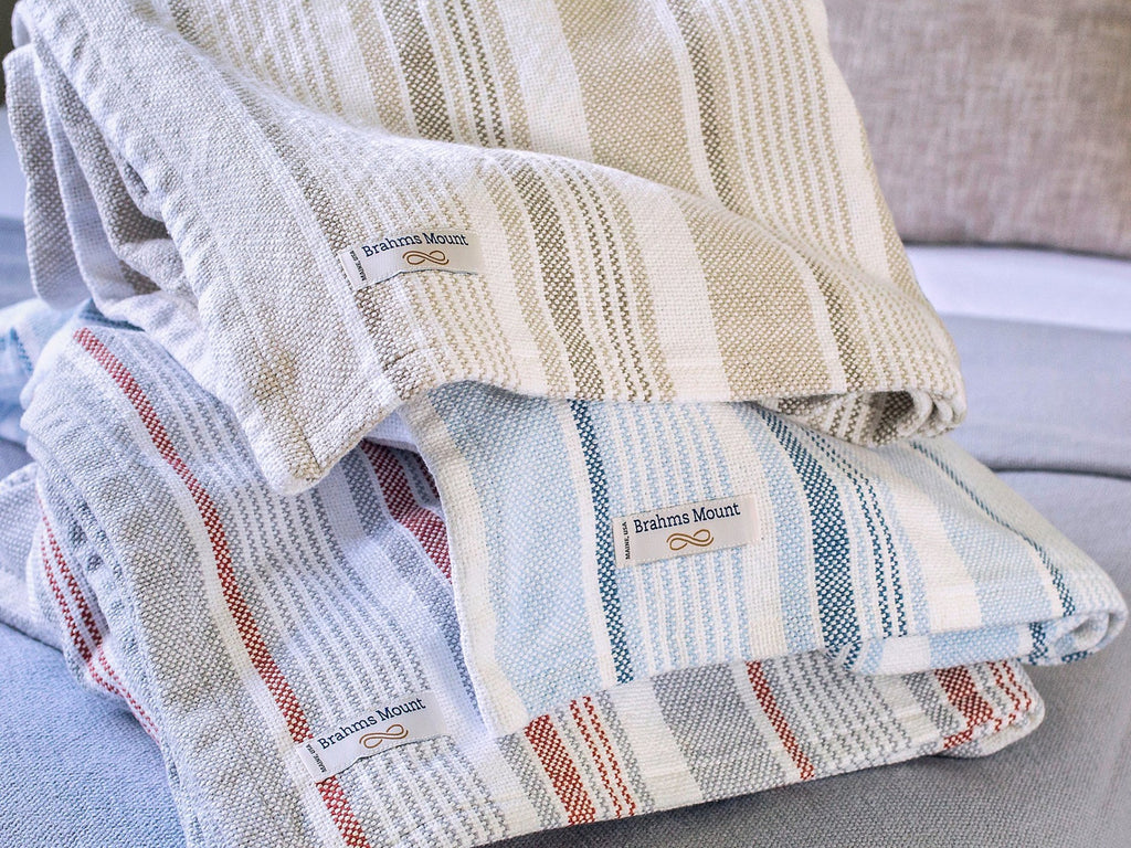 Stack of Newport cotton blankets close-up image.