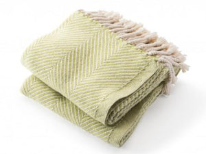 Monhegan Apple Green folded throw.