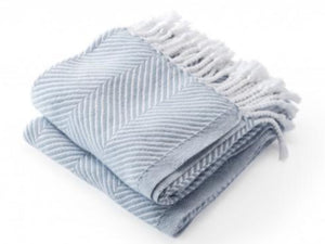 Monhegan White/Misty Blue folded throw.