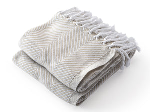 Monhegan Oyster/Stone folded throw.