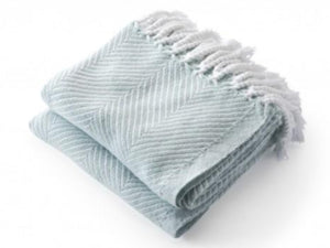 Monhegan White/Surf folded throw.