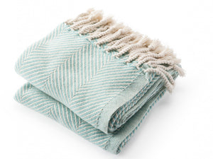 Monhegan Island Blue folded throw.
