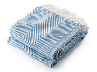 Monhegan Denim/Soft White folded throw.