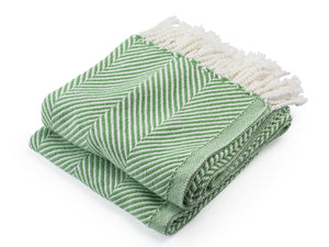 Monhegan Sugar Snap/Soft White folded throw.