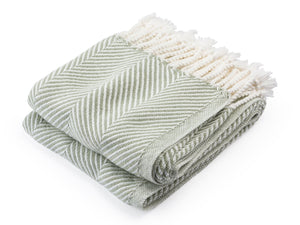 Monhegan Tea/Soft White folded throw.