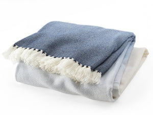 Palermo indigo folded throw.