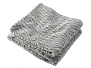 Penobscot Natural/Slate folded blanket.