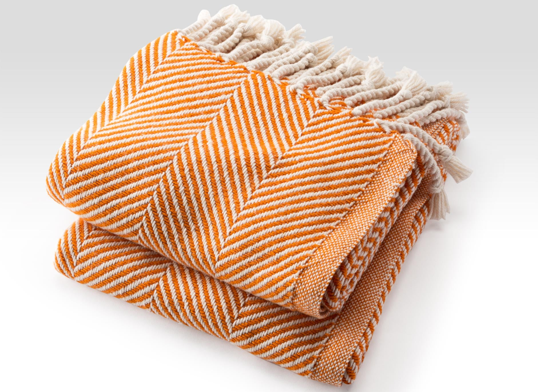Autumn Natural Cotton Herringbone Throw