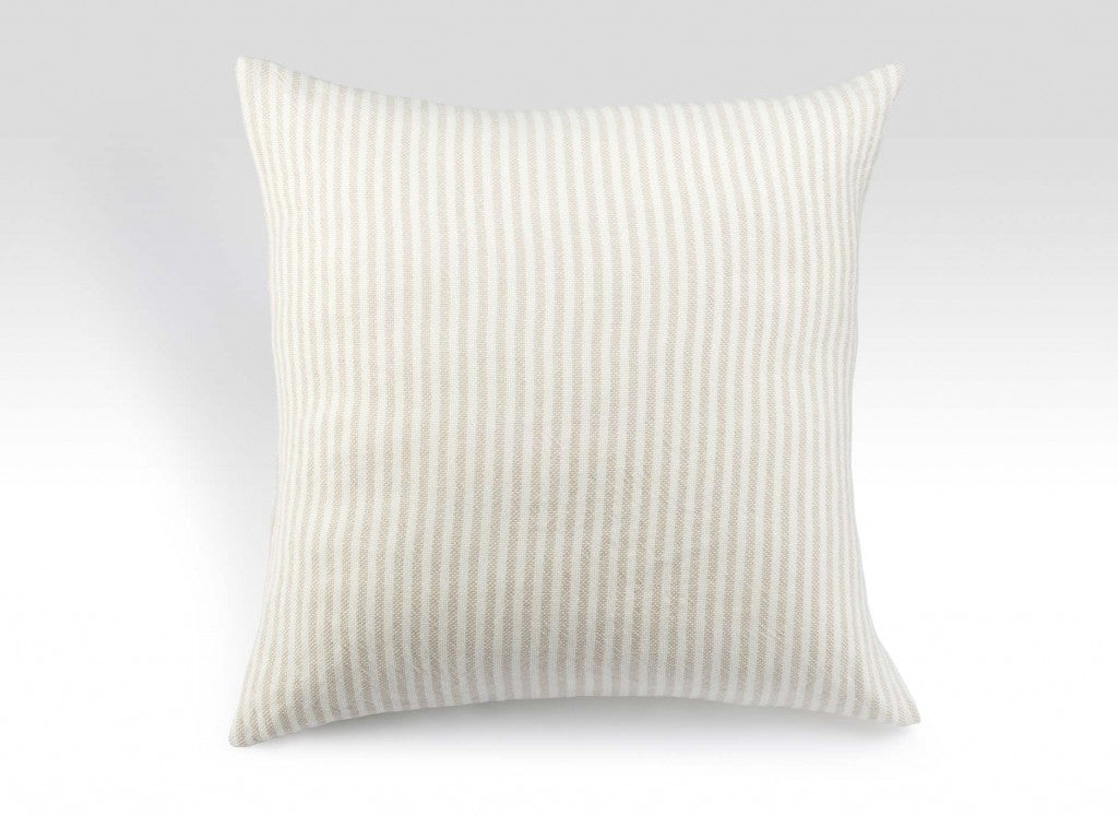 Pearl and Natural Striped Linen Pillow
