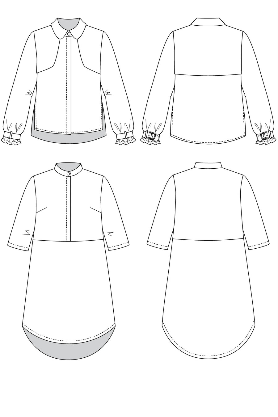 HELMI trench blouse & tunic dress pattern- Named Clothing