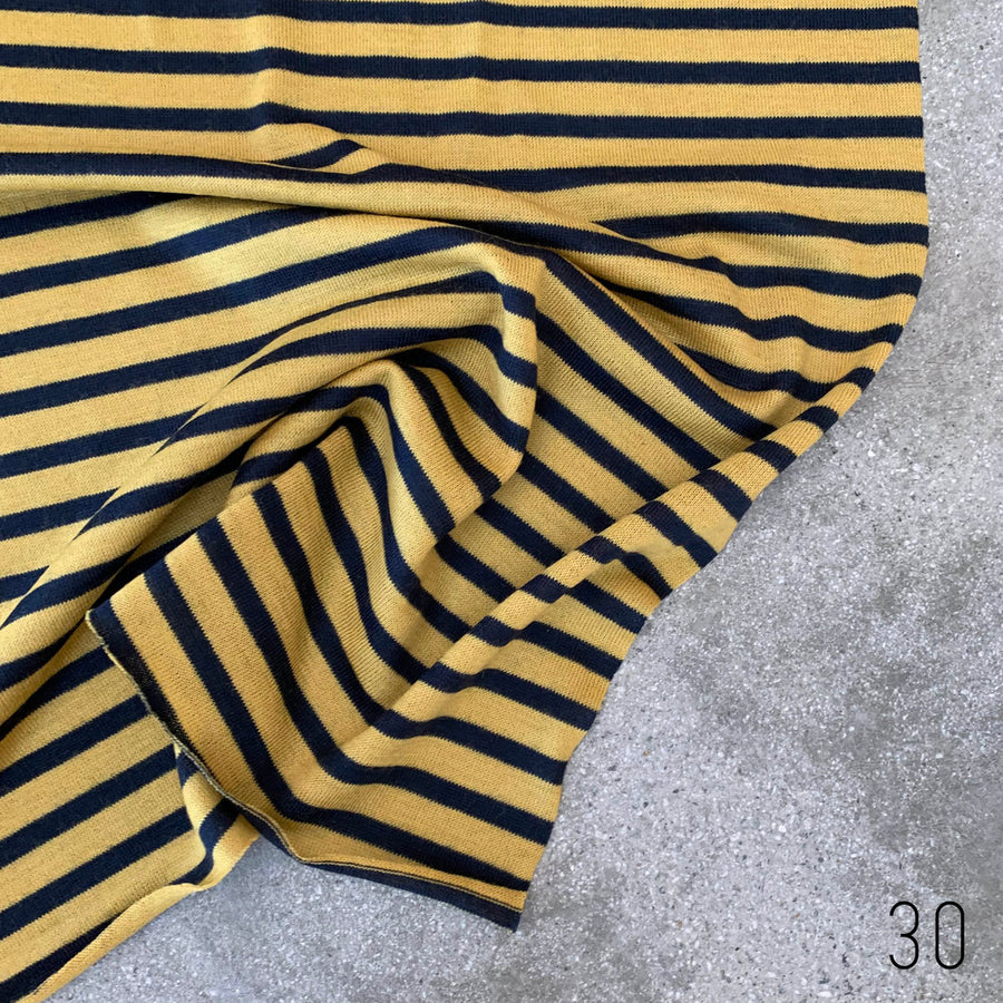 T-shirt stripe Yellow/Navy(30)   $25 per metre