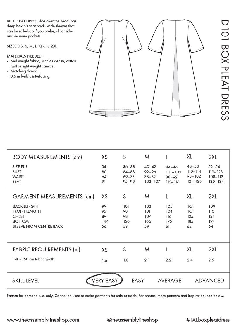 Box Pleat Dress Pattern- The Assembly Line